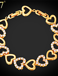 U7® Women's Cubic Zirconia Bracelet Platinum/18K Gold Plated Fashion Jewelry Romantic Lover Gift Heart Charm Bracelet