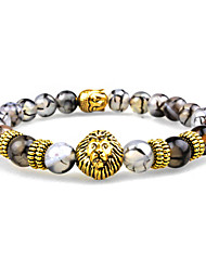 Women Men Fashion Bracelet Pulseras Mujer Black Lava Stone Buddha Lion Beads Bracelet