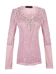 Women's Patchwork / Lace Pink Tops & Blouses , Casual / Lace V-Neck Long Sleeve