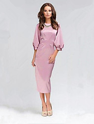 Women's Sexy Loose Dress,Solid Round Neck Midi ¾ Sleeve Pink Fall