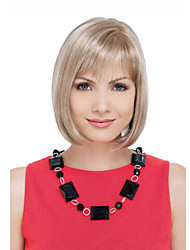 Short Straight Hair European Weave Mix Color Hair Wig With Full bang