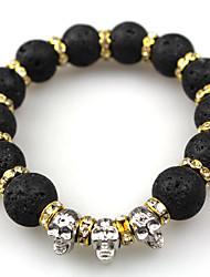 Men Fashion Bracelet Pulseras Mujer Black Lava Stone Skull Beads Bracelet