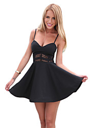 Women's Holiday Dress,Solid Strap Mini Sleeveless Black Cotton Summer