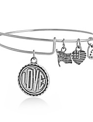 Love Pendant Expandable Wire Bangle Bracelet (Internal Diameter :65mm)