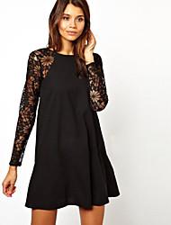 Women's Patchwork Blue / Black Dress , Sexy Round Neck Long Sleeve