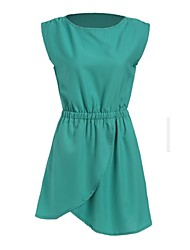 Women's Irregular Solid Green Dress , Sexy/Casual Round Neck Sleeveless Hollow Out/Ruched