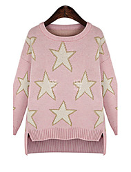 Sweater   Women's Galaxy Gray Sweaters , Casual Round Long Sleeve