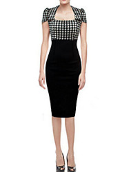 Women's Check / Patchwork Black Dress , Work Square Neck Short Sleeve