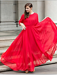Women's Solid Color Red Dresses , Casual Round ¾ Sleeve