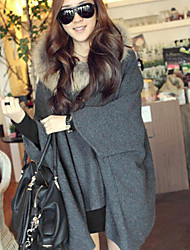 Women's Cape Style Fur Hooded Solid Gray Loose Trench Coat , Casual Batwing Sleeve