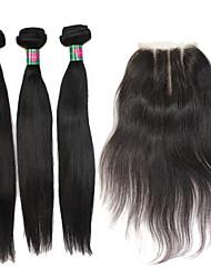 3 faisceaux trame avec fermeture à lacets 10-30 pouces non transformés brésilienne de cheveux vierge droite armure de cheveux humains,