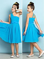 Knee-length Chiffon Junior Bridesmaid Dress - Ocean Blue A-line One Shoulder