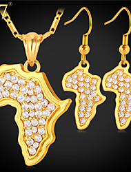 U7® Women's Clear Rhinestone Earrings Platinum/Gold Plated New Trendy Africa Map Pendant Necklace African Jewelry Set