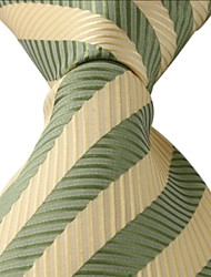 New Silk Jacquard Silk Men Necktie Tie Green Yellow Stripes
