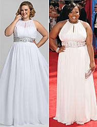 TS Couture Formal Evening / Prom / Military Ball Dress - White Plus Sizes / Petite Sheath/Column High Neck Floor-length Chiffon