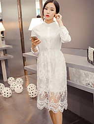 Women's Lace Solid / Lace Dress , Stand Midi Chiffon / Lace