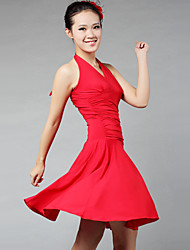 Latin Dance Dresses&Skirts Women's Performance / Training Milk Fiber Draped 1 Piece Black / Red Latin Dance / Performance Sleeveless Dress