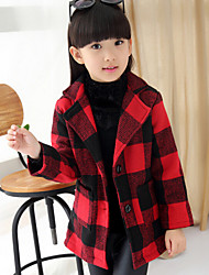 Girl's Black / Red Jacket & Coat,Check Polyester Winter / Spring / Fall