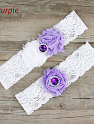 Stretch Satin / Lace Wedding Sweet Garter with Flower / Rhinestone