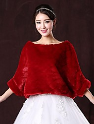 Fur Wraps / Wedding  Wraps Coats/Jackets 3/4-Length Sleeve Faux Fur Burgundy Wedding / Party/Evening Scoop Pullover