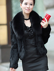 Women's Solid Color White / Black Coats & Jackets , Casual / Party V-Neck Long Imitation of fox collars