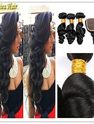 4 unidades / lote peruano cabelo virgem com fecho de onda solta encerramento rendas com pacotes de extensão do cabelo humano virgem
