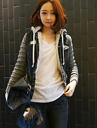 Women's Solid / Patchwork Black Denim / Knitwear Jacket , Casual