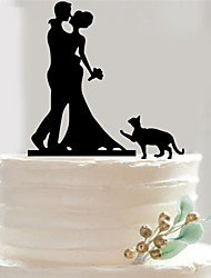 Bride and Groom Dog Silhouette Wedding Cake Topper Personalize Fondant Decorations Tools Acrylic Couple Funny Topper