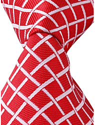 Grid Pattern Red Jacquard Men Business Suit Necktie Tie