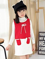 Vestido Chica de - Invierno / Primavera / Otoño - Mezcla de Algodón - Negro / Rojo