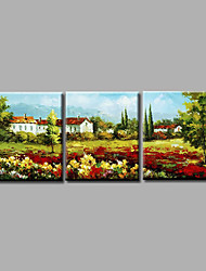 Ready to Hang Stretched Hand-Painted Oil Painting Canvas Wall Art Contempory Abstract Village Flowers Field Three Panels