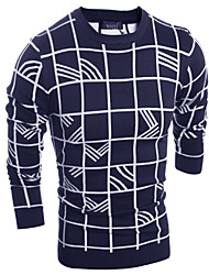 Men's Fashion Slim Plaid Knit Pullovers,Wool / Cotton Long Sleeve Black / Blue / Red