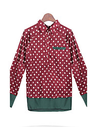 Women's Polka Dot Red Tops & Blouses , Casual Stand Long Sleeve