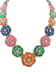 Lady Dripped Rhinestone Flowers Cluster Cute Necklace