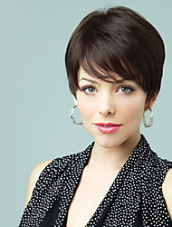 Exquisite Women's Hairstyle Human Virgin Remy Hand Tied Top Short Straight Capless Wigs