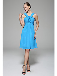 Knee-length Chiffon Bridesmaid Dress - Ocean Blue A-line Straps