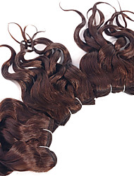 "Brazilian Loose Curly Wave Hair Weaves #4 Light Brown Human Hair Extensions Set 3pcs 8"" Virgin Hair Weavings"
