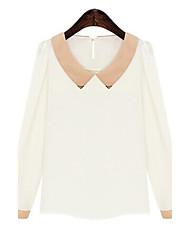Women's Patchwork Pink / White Blouse , Shirt Collar Long Sleeve