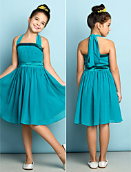 Knee-length Chiffon Junior Bridesmaid Dress - Clover A-line Halter