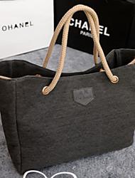 Lady's Fashion Retro Pure Color  Single  Shoulder  Canvas Handbag