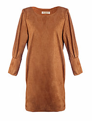 Women's Solid Color Red / Brown / Gray Dresses , Casual Round Long Sleeve