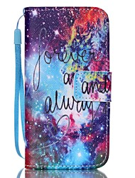 For iPhone 5 Case Card Holder / Wallet / with Stand / Flip / Pattern Case Full Body Case Word / Phrase Hard PU Leather iPhone SE/5s/5