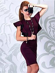 De las mujeres Vestido Sobre la rodilla - Volante Escote Redondo - Mezclas de Algodón - Manga Larga