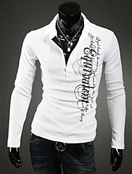 Men's Long Sleeve Polo , Cotton Blend Casual / Work / Formal / Sport / Plus Sizes Print