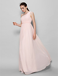 Lanting Bride Floor-length Chiffon Bridesmaid Dress A-line One Shoulder with Side Draping