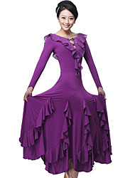 Ballroom Dance Dresses&Skirts Women's Performance / Training Milk Fiber Crystals/Rhinestones / Draped / Ruffles