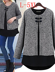 Enaco Women's Patchwork Gray plus size Tops & Blouses , Sexy / Casual / Work Round Long Sleeve