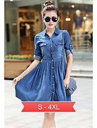 Women's Plus Size Dress, Oxford cloth Knee-length Long Sleeve