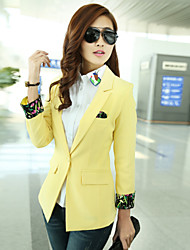 Women's Solid Black / Green / Yellow Blazer , Party / Work / Plus Sizes Shirt Collar Long Sleeve A grain of buckle