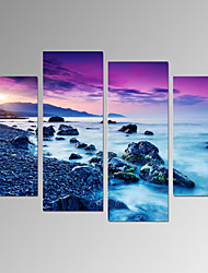 VISUAL STAR®4 Panel Sunriseon Sea Landscape Canvas Print Beach Picture Print on Canvas Ready to Hang